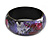 Round Wooden Bangle Bracelet in Abstract Paint in Pink/ Black/ Purple/ Silver- Medium Size - view 4