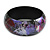 Round Wooden Bangle Bracelet in Abstract Paint in Pink/ Black/ Purple/ Silver- Medium Size - view 5