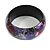 Round Wooden Bangle Bracelet in Abstract Paint in Pink/ Black/ Purple/ Silver- Medium Size - view 6