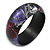 Round Wooden Bangle Bracelet in Abstract Paint in Pink/ Black/ Purple/ Silver- Medium Size