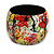 Wide Chunky Wooden Bangle Bracelet in Abstract Paint in Multi - Medium Size