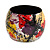 Wide Chunky Wooden Bangle Bracelet in Abstract Paint in Multi - Medium Size - view 5