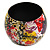 Wide Chunky Wooden Bangle Bracelet in Abstract Paint in Multi - Medium Size - view 7
