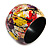 Wide Chunky Wooden Bangle Bracelet in Abstract Paint in Multi - Medium Size - view 1