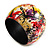 Wide Chunky Wooden Bangle Bracelet in Abstract Paint in Multi - Medium Size - view 6