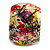 Wide Chunky Wooden Bangle Bracelet in Abstract Paint in Multi - Medium Size - view 4