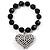 Black Plastic Jumbo Heart Stretch Costume Bracelet - view 2