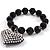 Black Plastic Jumbo Heart Stretch Costume Bracelet