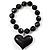 Black Plastic Jumbo Heart Stretch Costume Bracelet - view 3