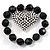Black Plastic Jumbo Heart Stretch Costume Bracelet - view 4
