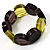 Multicoloured Stretch Resin Bracelet (Lemon, Brown & Black) - view 4