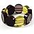 Multicoloured Stretch Resin Bracelet (Lemon, Brown & Black)