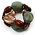 2 Strand Mixed Resin Bead Stretch Bracelet (Green, Coffee & Beige) - view 4