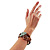 2 Strand Mixed Resin Bead Stretch Bracelet (Green, Coffee & Beige) - view 2
