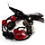 3 Strand Flex Beaded Bracelet (Black & Red) - view 2