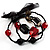 3 Strand Flex Beaded Bracelet (Black & Red) - view 4
