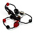 3 Strand Flex Beaded Bracelet (Black & Red) - view 5