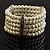 5-Strand Imitation Pearl Crystal Flex Bracelet (Snow White) - view 3
