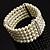 5-Strand Imitation Pearl Crystal Flex Bracelet (Snow White) - view 2