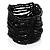 Black Glass Herring Wide Bracelet