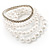Crystal&Imitation Pearl Bangles-Set of 4 (Silver&Snow White) - view 7