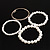 Crystal&Imitation Pearl Bangles-Set of 4 (Silver&Snow White) - view 5
