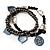 3-Strand Vintage Black Glass Charm Flex Bracelet - view 3