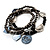 3-Strand Vintage Black Glass Charm Flex Bracelet - view 7