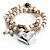 2 Strand Freshwater Pearl Puffed Heart Flex Bracelet (Silver Tone) - view 3
