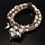 2 Strand Freshwater Pearl Puffed Heart Flex Bracelet (Silver Tone) - view 5