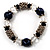 Dark Blue Ceramic Bead Flex Bracelet (Silver Tone) - view 4