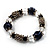 Dark Blue Ceramic Bead Flex Bracelet (Silver Tone) - view 7