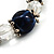 Dark Blue Ceramic Bead Flex Bracelet (Silver Tone) - view 3