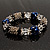 Dark Blue Ceramic Bead Flex Bracelet (Silver Tone) - view 5