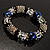 Dark Blue Ceramic Bead Flex Bracelet (Silver Tone) - view 2