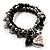 3-Strand Puffed Heart&Star Charm Flex Bead Bracelet (Black&Silver) - view 2