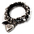 3-Strand Puffed Heart&Star Charm Flex Bead Bracelet (Black&Silver) - view 7