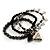 3-Strand Puffed Heart&Star Charm Flex Bead Bracelet (Black&Silver) - view 3