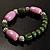 Lavender&Olive Green Ceramic Bead Flex Bracelet (Silver Tone) - view 6