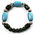 Pale Blue&Olive Green Ceramic Bead Flex Bracelet (Silver Tone) - view 5