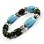 Pale Blue&Olive Green Ceramic Bead Flex Bracelet (Silver Tone) - view 4
