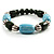 Pale Blue&Olive Green Ceramic Bead Flex Bracelet (Silver Tone) - view 6