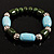 Pale Blue&Olive Green Ceramic Bead Flex Bracelet (Silver Tone) - view 2
