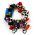 Multicolour Bead&Stone Heart Charm Flex Bracelet (Antique Silver Tone) - view 2