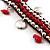 Bright Red Semiprecious Stone Charm Wristband Bracelet (Silver Tone) - view 2