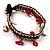 Bright Red Semiprecious Stone Charm Wristband Bracelet (Silver Tone) - view 4