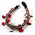 Bright Red Semiprecious Stone Charm Wristband Bracelet (Silver Tone) - view 5
