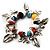 Multicoloured Semiprecious Stone Leaf&Butterfly Charm Flex Bracelet - view 1