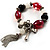 Black And Red Glass Bead Tassel Flex Bracelet (Silver Tone) - view 3