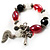 Black And Red Glass Bead Tassel Flex Bracelet (Silver Tone) - view 4